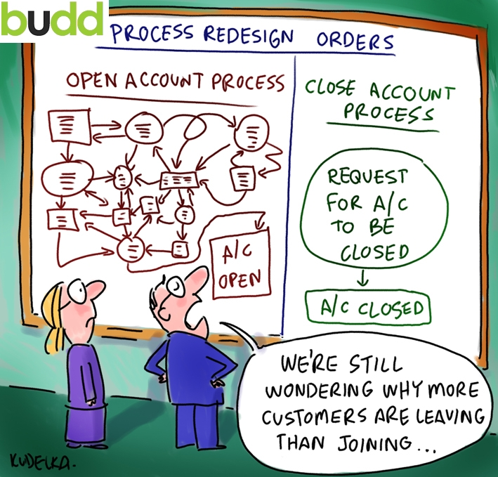 "Cartoon ""We're still wondering why more customers are leaving than joining...."""
