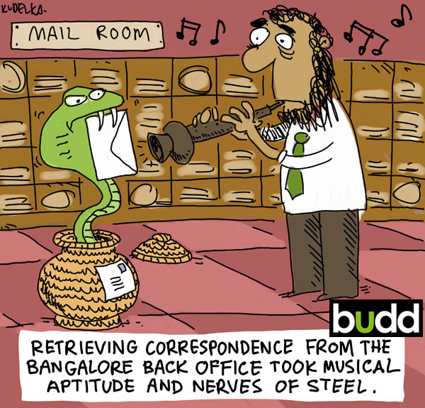 Retrieving correspondence from Bangalore back office tool musical aptitude and nerves of steel. Letter in mouth of snake.